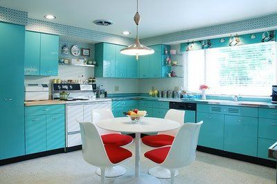 Photo credit:  Retro-Kitchen-with-Geneva-Metal-Kitchen-Cabinets.