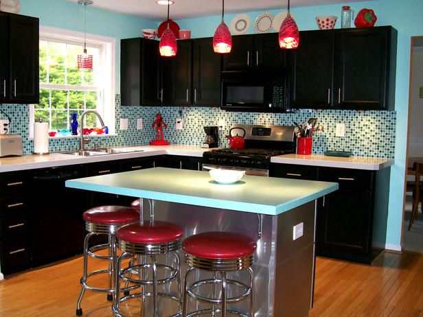 blue.red.modern.retro.kitchen.hgtv